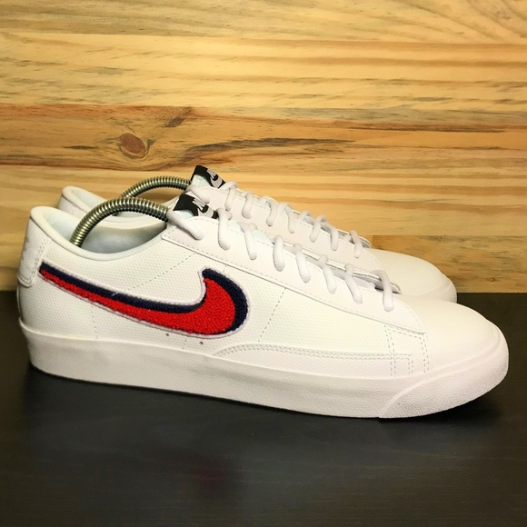 New Nike Blazer Low 3d White Red Blue